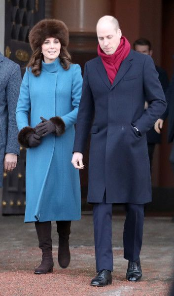 Kate Middleton Photos - Catherine, Duchess of Cambridge and Prince William, Duke of Cambridge exit the Royal Palace on her way to visit the Princess Ingrid Alexandra Sculpture Park on day 3 of their visit to Sweden and Norway on February 1, 2018 in Oslo, Norway. The Princess Ingrid Alexandra Sculpture Park opened last year in the name of Princess Ingrid Alexandra to mark the 25th anniversary of The King's reign. During this visit,
