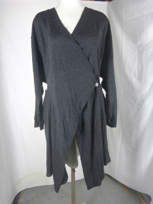 LACE Gray Lagenlook Knit Cardigan Sweater sz XL 1X OS Flowing Button