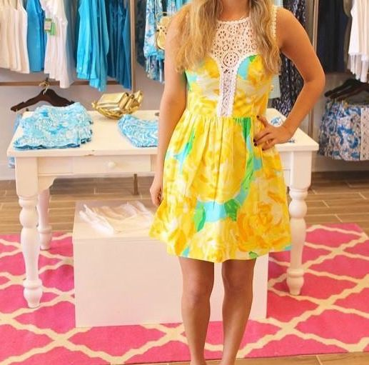 Lilly Pulitzer Raegan Fit & Flare Dress in Sunglow Yellow First Impression via Pink Flamingo Instagram