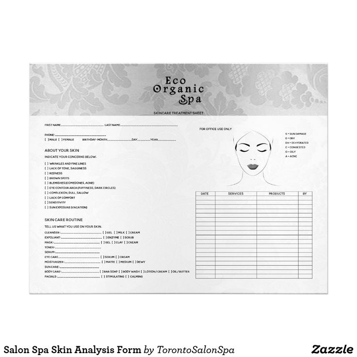 Salon Spa Skin Analysis Form Letterhead  Beauty Business -9495
