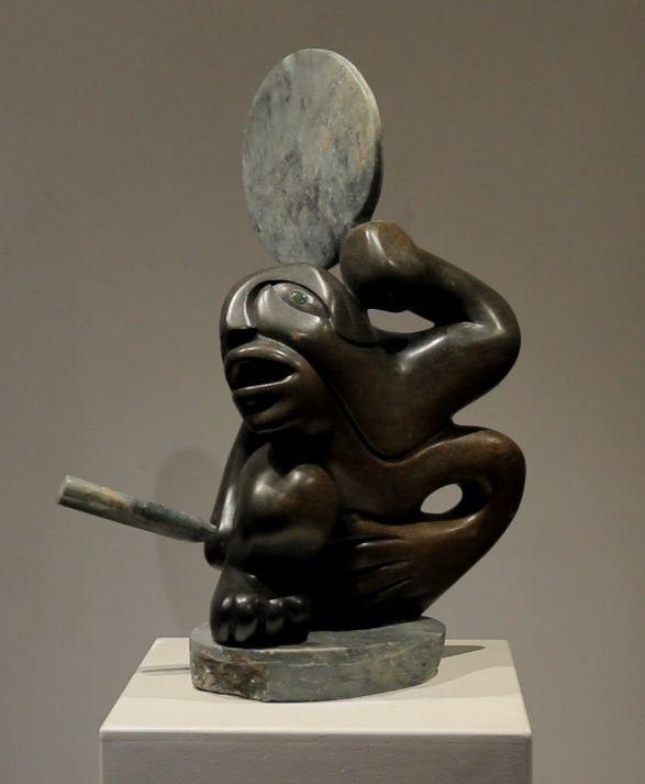"Soap Stone carving by Abraham Anghik Ruben ""Shaman Drumming"""