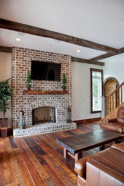 Chateau de Charleston - traditional - living room - charleston - Ink Architecture LLC - wood flooring and distressed brick