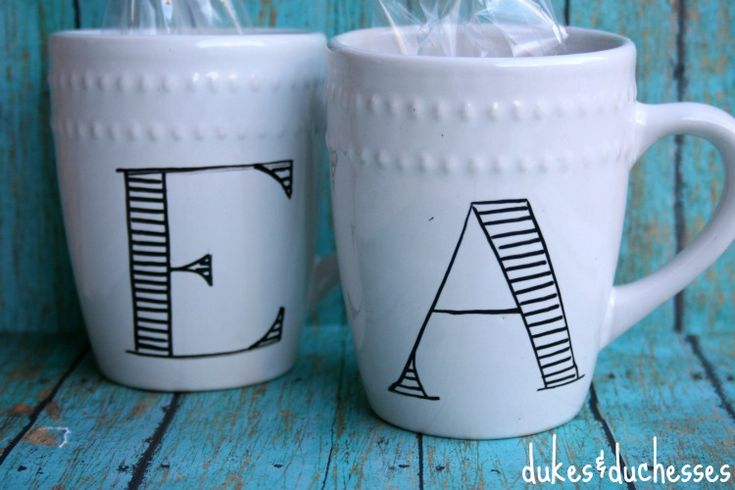 DIY monogrammed mugs with DecoArt glass paint marker.  bake mugs at 375 degrees for 40 minutes