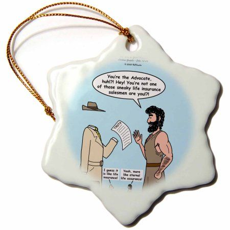 3dRose John 15 26 - 16 15 The advocate appears to Peter, Snowflake Ornament, Porcelain, 3-inch