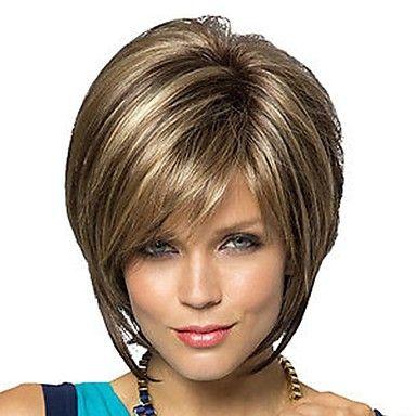 rubias pelucas de las mujeres de moda cortos de color marrón oscuro mixtos de color con la explosión lateral – MXN $ 371.85