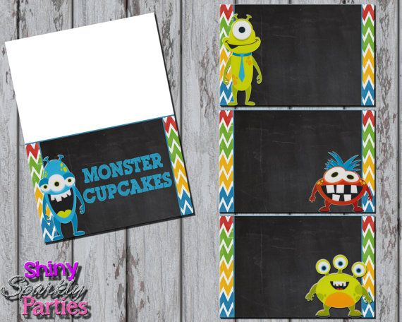 Printable MONSTER FOOD TENTS  Monster Food by ShinySparklyParties