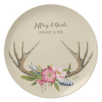 Wild Roses Flower Rustic Wedding Dinner Dinner Plate - kitchen gifts diy ideas decor special unique individual customized