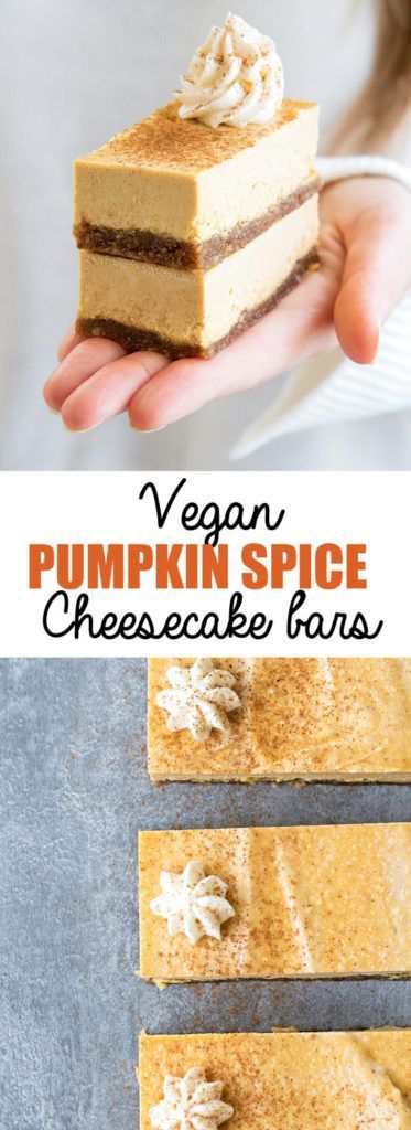 Choosingchia.com| These vegan pumpkin spice cheesecake bars are the perfect Fall treat! They're also gluten-free, refined-sugar free, and made with natural ingredients! #pumpkinspice #vegan #nobake