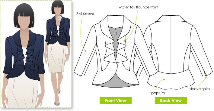 Julia Jacket Sewing Pattern By Style Arc