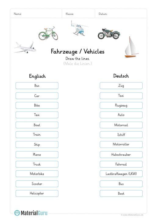 """NEU: Ein kostenloses Englisch-Arbeitsblatt zum Thema """"Fahrzeuge / Vehicles"""" für…"""