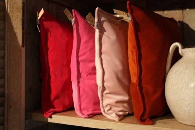 Rode en roze velour kussens voor op de bank