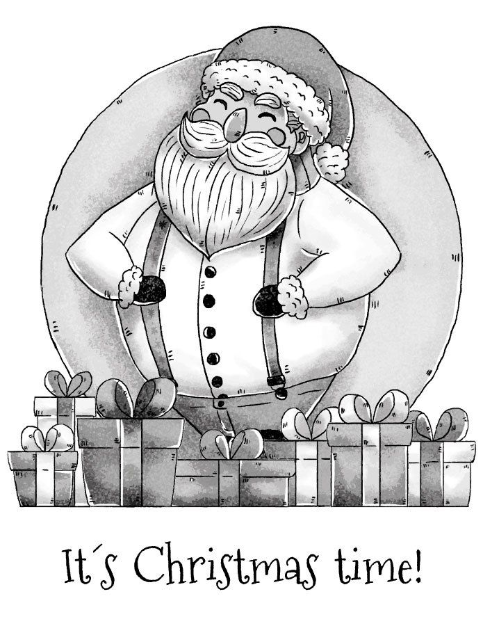 Dessin Pere Noel Grayscale A Imprimer Gratuit Sketches Art