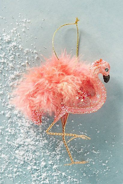 Anthropologie EU Feathered Flamingo Christmas Ornament