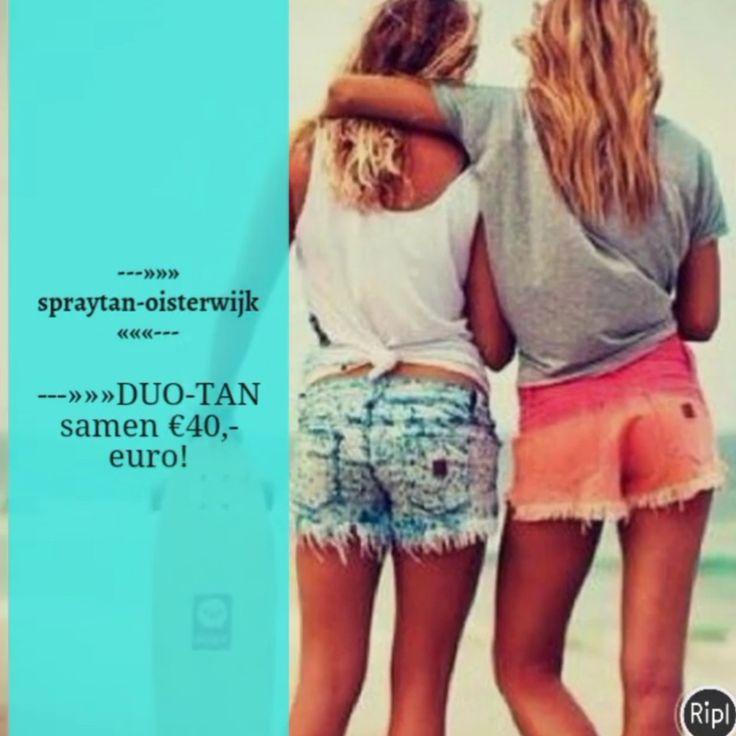 """---»» DUO-TAN €40,- euro! ❤❤ Geniet samen 7 tot 14 dagen van een gezonde bruine kleur! alle combinaties mogelijk.              """"www.spraytan-oisterwijk.nl""""  #spraytanoisterwijk #tanning #airbrush #schoonheidsspecialiste #vakantie #bruiloft #feest #festival #communie #gala #beauty #specialist #trends #zomervakantie #zomer #salon #lichaamsverzorging #crazyangel #whitetobrown #vanit #vitaliberata #verwennen #mooi #schoonheid #vrouwen #mannen #moergestel #vaderdag #Oisterwijk #wennysspraytanning"""