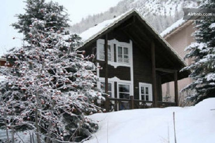 Alpine ski chalet with log fire in Allos