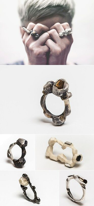 """rings by Rebecca Sarah Black. Inspired by """"the harsh landscape of the [Scottish] coastline and traditional folklore,"""" she combines precious metal with bovine bone sourced from her local butcher. http://rebecca-sarah-black.format.com/#0"""