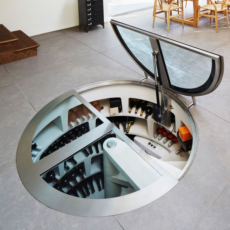 A wine cellar installed as part of a rear house extension in London SE24 designed by Stephen Turvil Architects