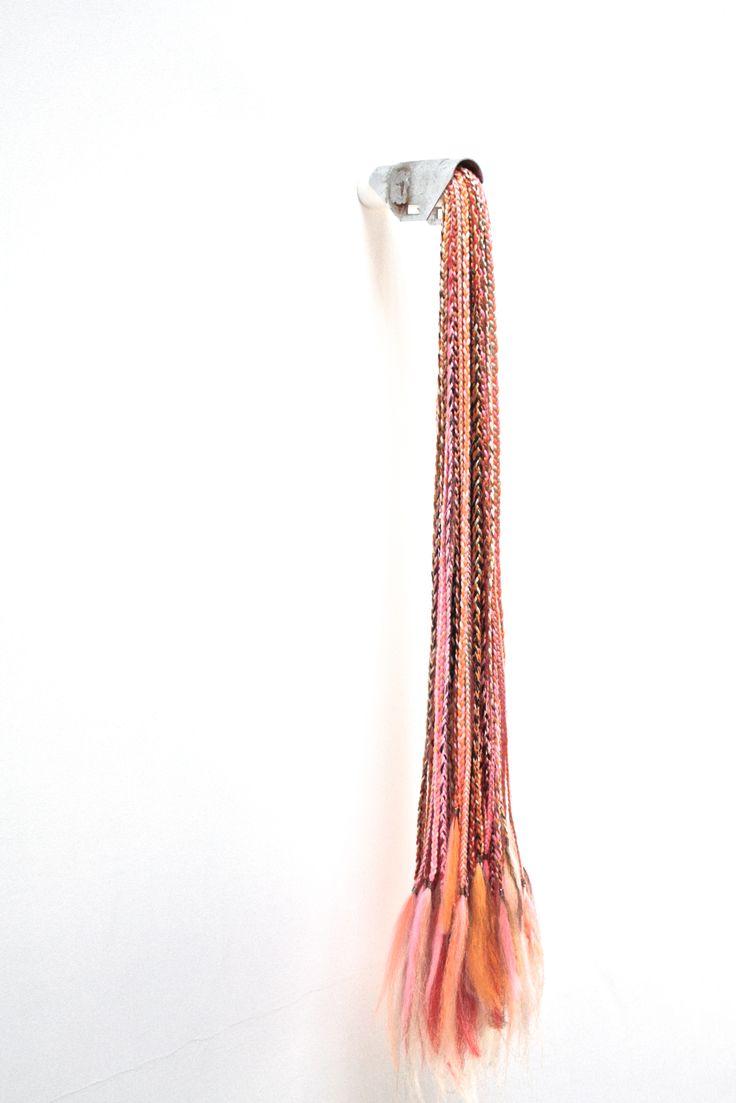 Extension,  steel, syntetic hair, wood, plastic, 15x20x110.