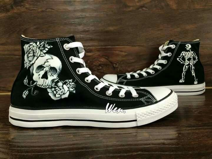 Scarpe Converse All Star Chucks UK 65 UE 395 SKULL BLACK Bloody Sabbath NUOVO