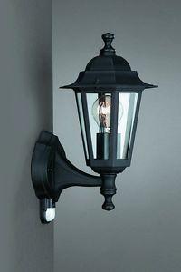 Schwarze-Wand-Aussenleuchte-Wandlampe-mit-Bewegungsmelder-Laternenform-Sensor
