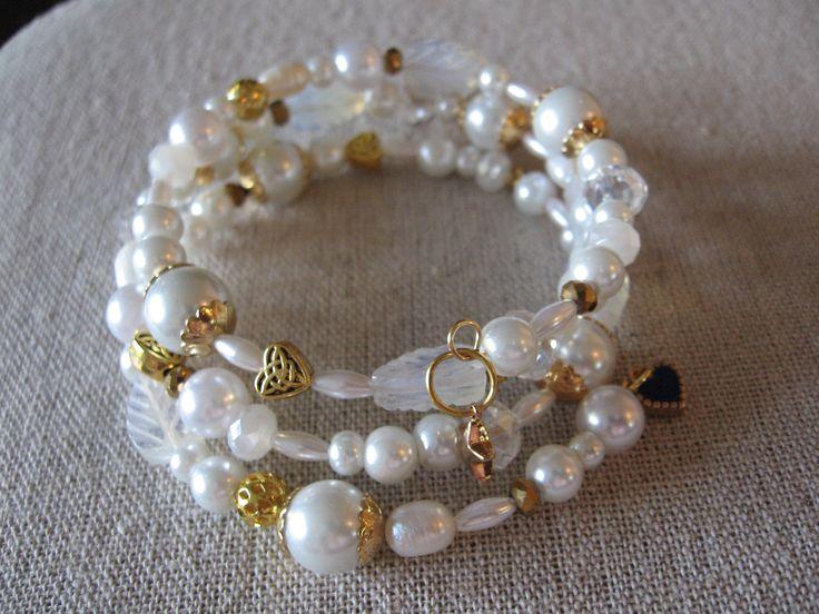 gold & pearls - wrap around bracelet
