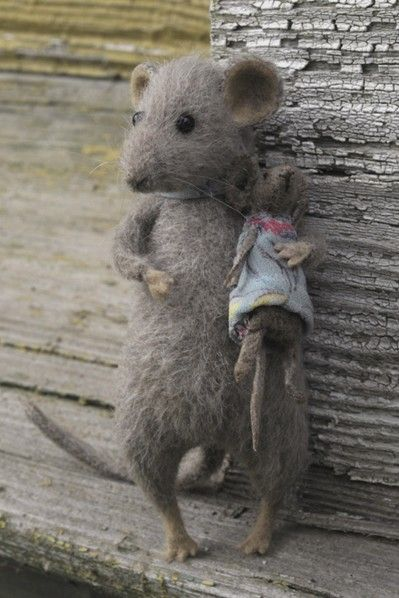 Needle Felted Mouse and Mouse Dolly...