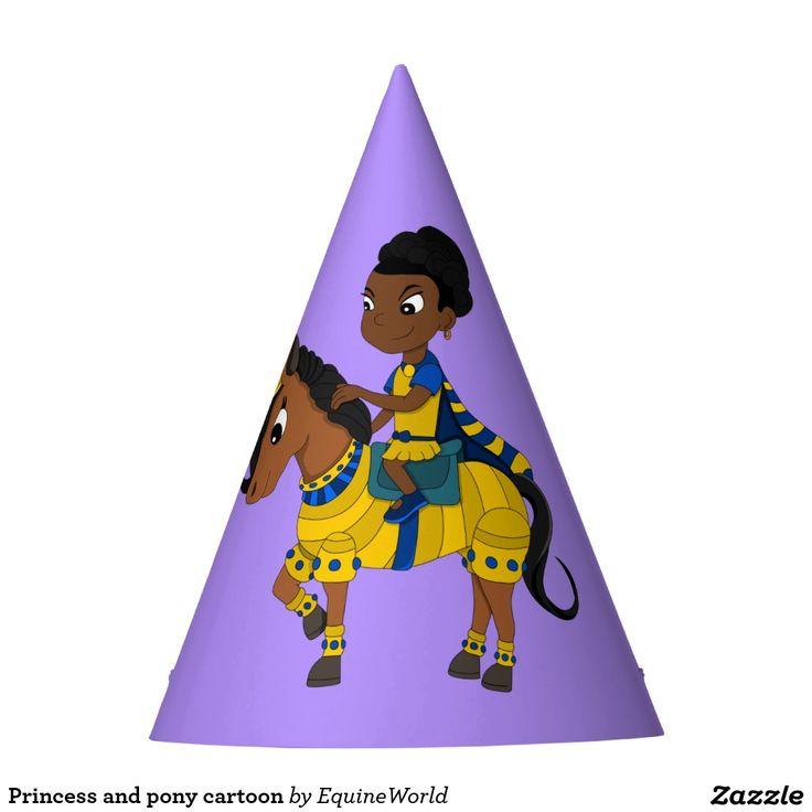 Princess and pony cartoon party hat