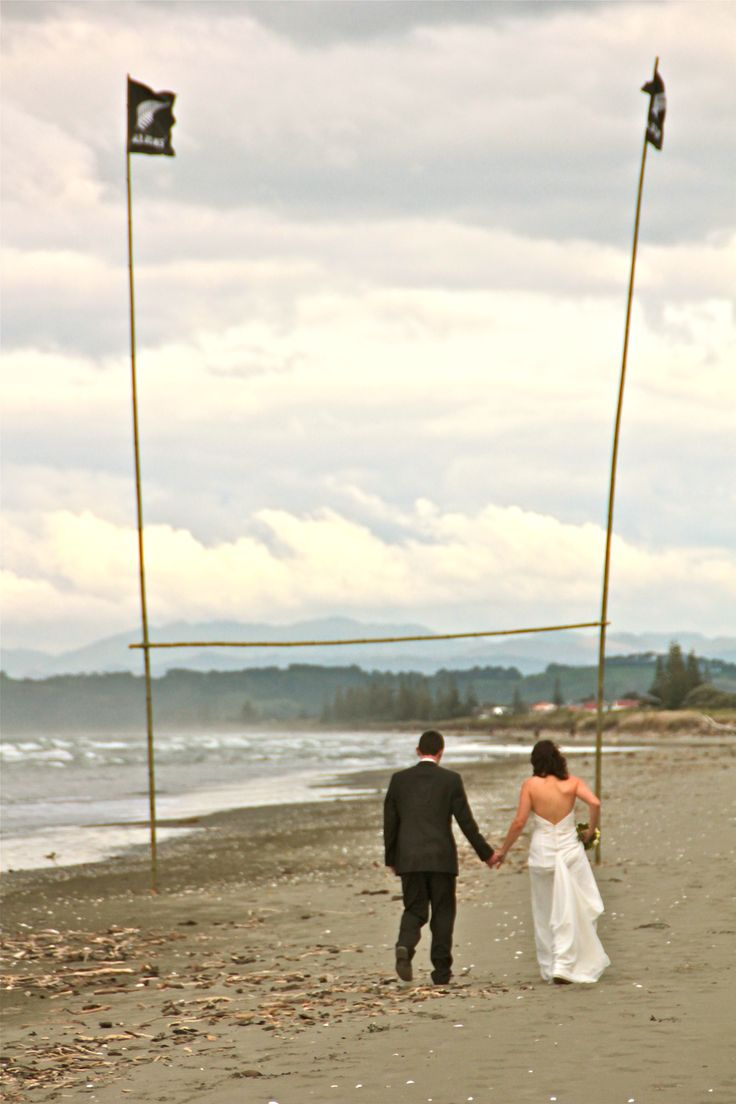 Beach + Rugby = NZ wedding