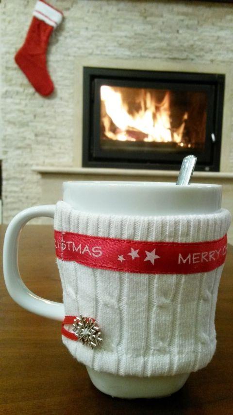 Merry Christmas kötött melegítős bögre