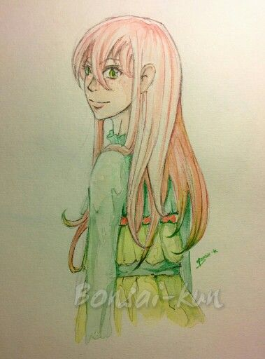 "She is Demi, my original character, part of the ""Blooming smile"" project - Pencil and watercolours"