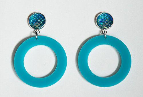 Mermaid Dragon Scale Hoop Earrings Dangling Post Earrings (Turquoise) by Pornoromantic
