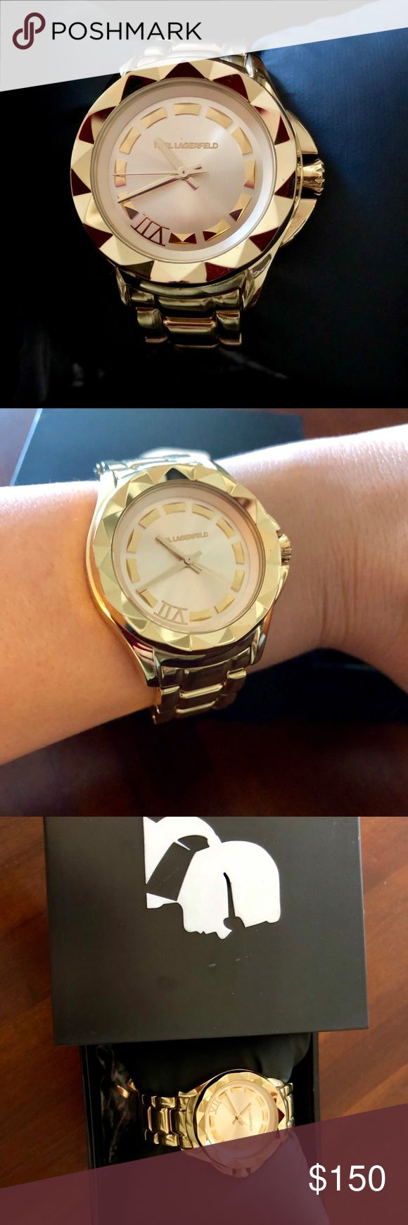 Barely worn Karl Lagerfeld gold watch This watch has only been worn a handful of times and is in near perfect (and working) condition! I have all pieces in case adjustments need to be made. Karl Lagerfeld Accessories Watches