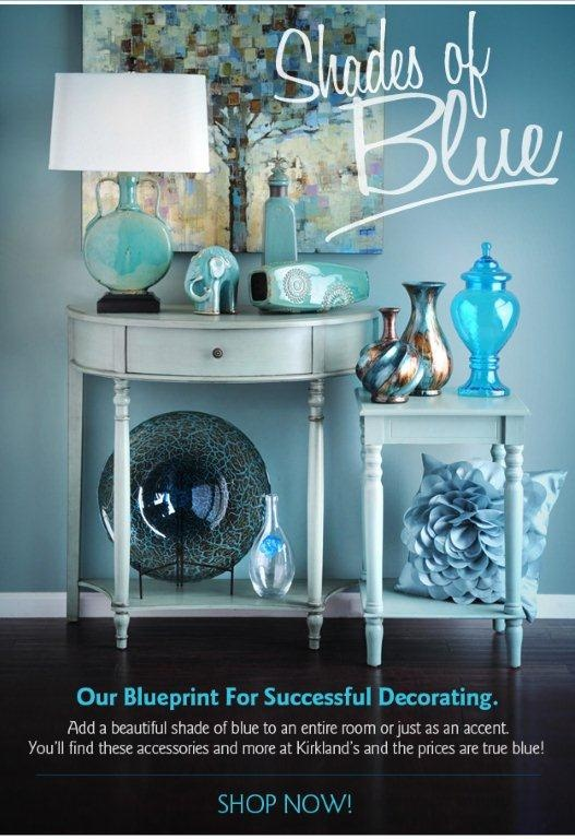 Accent decor. Various shades of blue done by Kirkland's.