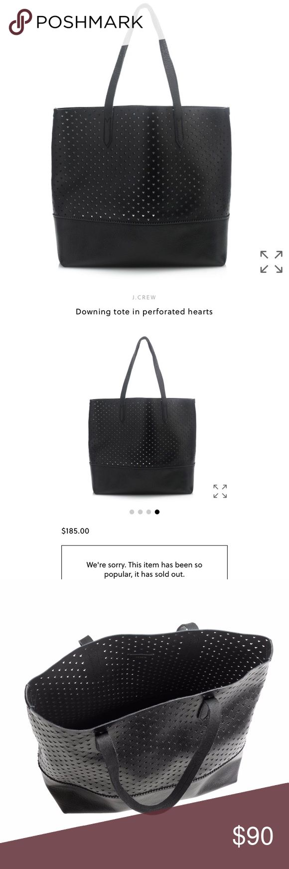 "J.Crew Black Downing Leather Perforated Tote J.Crew Downing Leather Tote in Perforated Hearts Black. Only used a few times, sold out everywhere and bought from J.Crew online for $185. I have too many black totes and so i decided it was time to sell. Comes with a removable little coin pouch as well.  **selling cheaper on merc!   Perfect to carry it everywhere —and can be your work bag, errands bag, gym bag and going-out bag  100% Leather. 9"" handle drop. 13 1/2""H x 13 1/2""W x 6 1/4""D. J. Crew…"