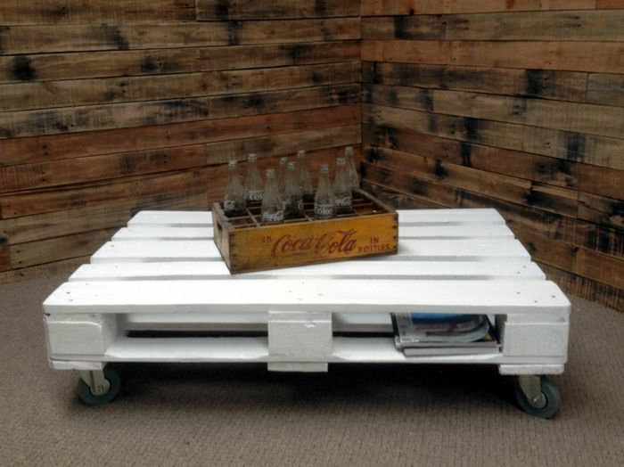 Tavolino bianco con pallet riciclo creativo pallet for Table basse palette