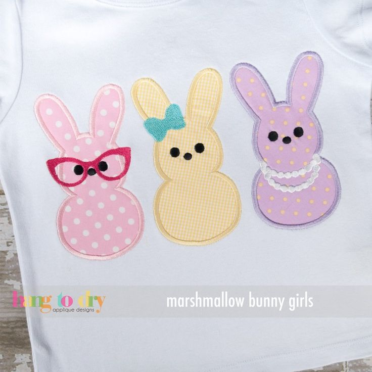 HAVE Hang to Dry Applique - Marshmallow Bunny Girls, $3.99 (http://www.hangtodryapplique.com/marshmallow-bunny-girls/)