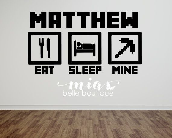 Eat Sleep Mine wall decal Mine wall art Mining by MiaBelleBoutique