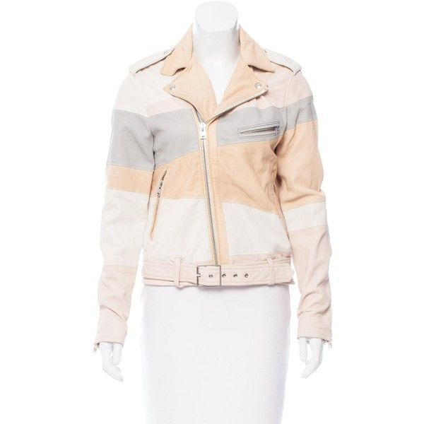 Pre-owned Iro Leather Moto Jacket (495 CAD) ❤ liked on Polyvore featuring outerwear, jackets, neutrals, iro jacket, leather jackets, zip jacket, white leather jacket and biker jackets