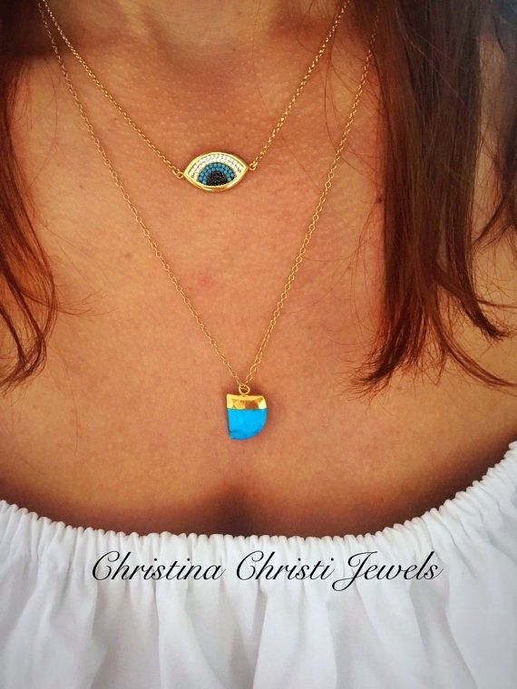 Gold Eye Necklace, Turquoise Stone Pendant by Christina Christi Jewels These two different, modern gold plated necklaces, from silver 925, can improve your style, in every situation, every day. All my chains have the best quality, they dont get black with water and they dont create allergies. - Eye necklace has length 40 cm (15.7) - Turquoise Stone necklace, has length 49 cm (19.2) - In all necklaces i use extension at the joined edges for perfect fit. If you would like to have more or le...