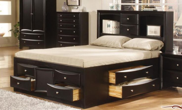 Bedroom : Black Wooden Double Bed With Storage On Top And Sides White Mattress Bed Cover Pillows Black Wooden Cupboard Night Table Shelves Make Your Room Look Organized With Double Bed With Storage Mattress Bed Cover. Bedroom Modern Lighting. Bedroom Cabinets.