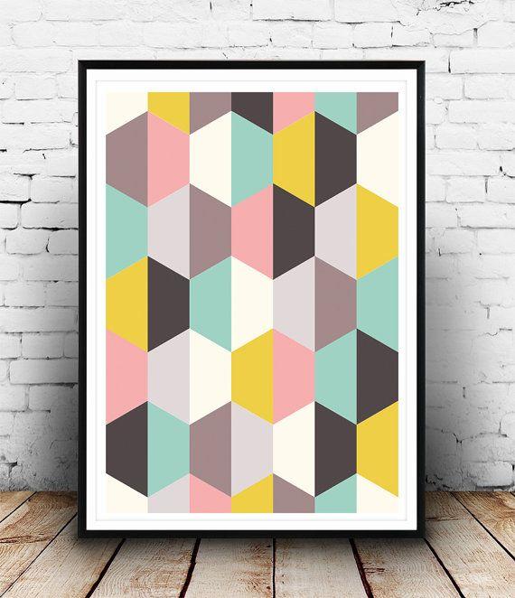 Geometric Art Print, Abstract Part, Mid Century Art, Retro Poster, Nursery art, Geometric poster, Scandinavian art, Triangles art, Wall art