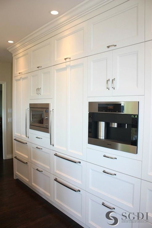 Sarah Gallop Design: Fantastic wall of white floor to ceiling kitchen cabinetry with brushed nickel hardware. ...