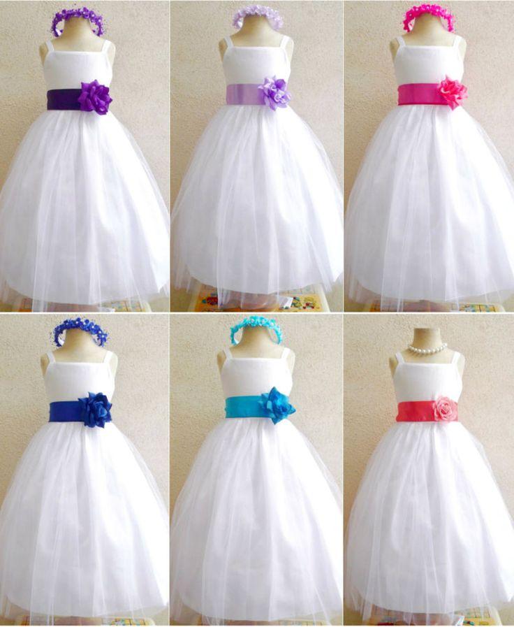 White purple lilac fuchsia royal turquoise blue coral wedding flower girl dress #Mykidstudio #DressyHolidayPageantWedding