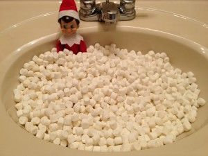 Elf on the Shelf idea: Marshmallow bath #elfontheshelf