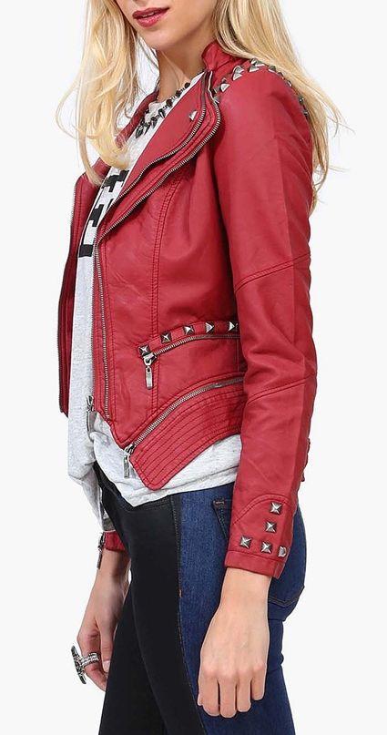 Red moto jacket