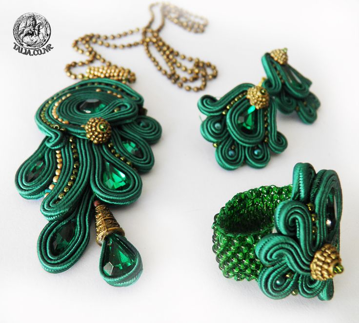 Green soutache set of pendant, earrings and ring by caricatalia.deviantart.com on @deviantART