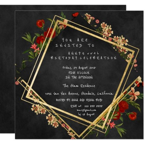 Floral Black Chalkboard Geometry Gold Square Party 13 Cm X 13 Cm Square Invitation Card
