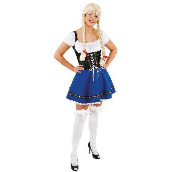 Tiroler bierfeest jurkje voor dames. Heidi jurkje blauw met zwart. Leuk jurkje voor oktoberfest of een ander bierfeest. One size, maat 38/40(M/L).