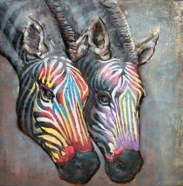 3D Art Wanddecoratie met een afbeelding van twee zebra's.Het is ook een leuke wanddecoratie om cadeau te geven aan een dierenliefhebber.