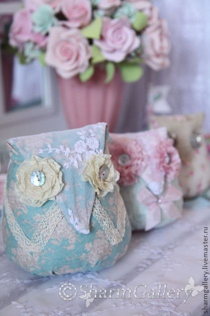 *** Owl pin cushion - fabric and lace